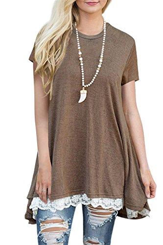 Women's Lace Trim Short Sleeve Loose Tunic Top Blouse Long T-Shirt XXL Coffee