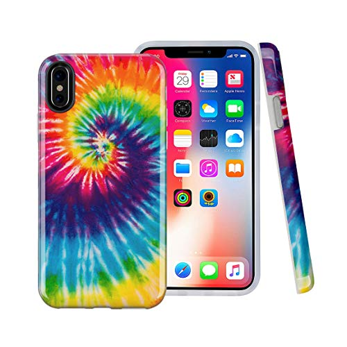 iPhone X case, iPhone Xs Case, Peace Tie Dye Swirl, CASESOCIETY Slim Flexible Soft Silicone Bumper Shockproof Gel TPU Rubber Glossy Skin Cover Case for Apple iPhone X & XS (Tye Dye Phone Case)