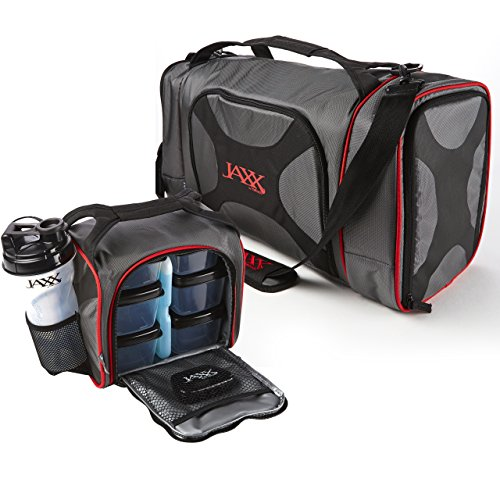 Fit & Fresh Dual Jaxx FitPak Duffel with Portion Control Container Set, Reusable Ice Pack, and Shaker Cup