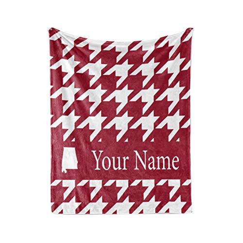 Personalized Corner Alabama Themed Custom Fleece Throw Blanket - University of Crimson Roll Tide Mens Womens College Football Apparel (Adult 60