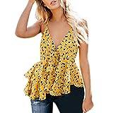 2019 Women's Summer V-Neck Sleeveless Bind Ruffles Shirt Blouse Casual Tank Tops S-XL (XL) Yellow