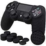 Pandaren STUDDED Anti-slip Silicone Cover Skin Set for PlaySation 4 controller(Black controller skin x 1 + FPS PRO Thumb Grips x 8)