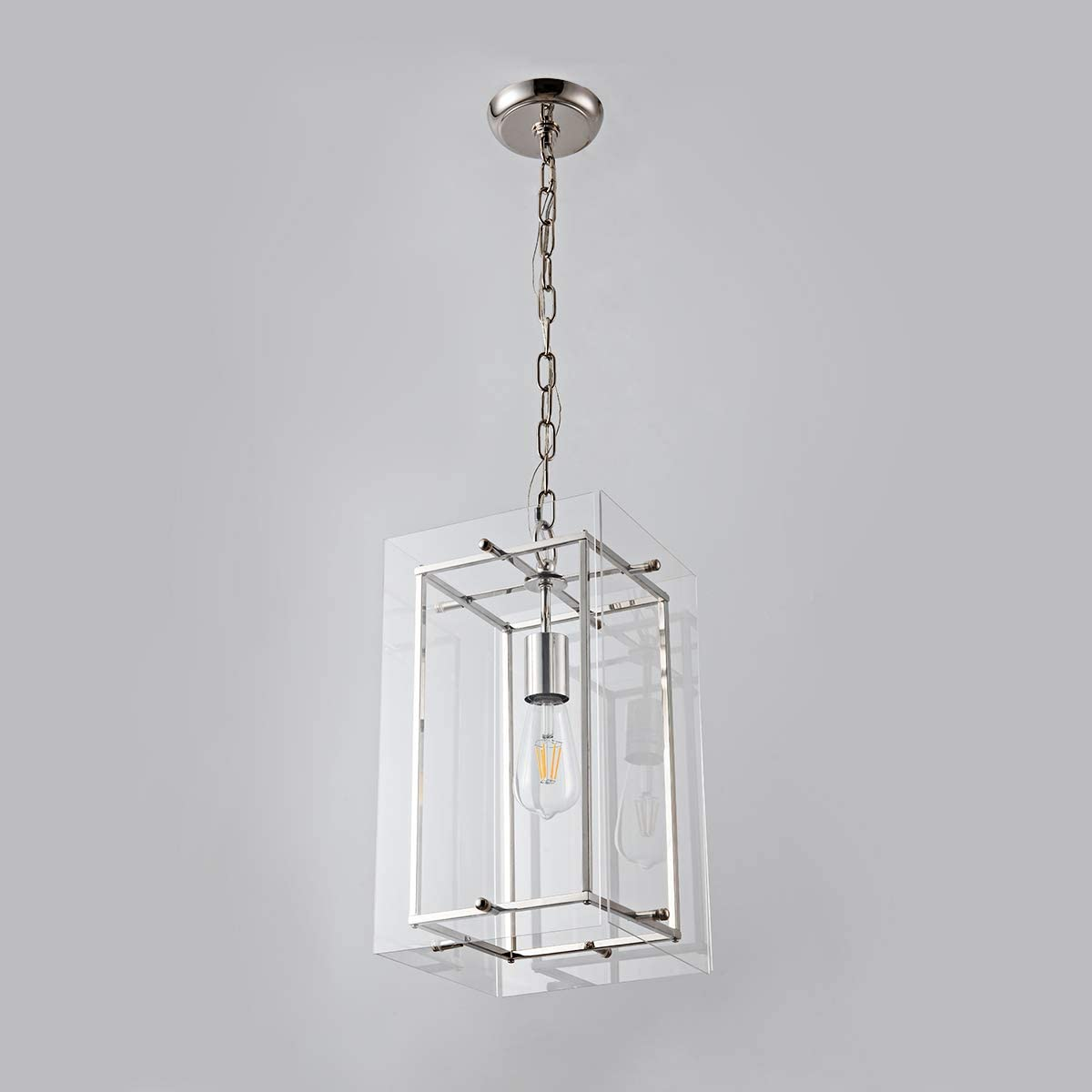Modern Pendant Light Lantern Chandelier Light Fixtures with Adjustable Chain Contemporary Unique Ceiling Hanging Pendant for Kitchen Island, Dining Room, Farmhouse, Foyer, Entryway Nickel, UL Listed