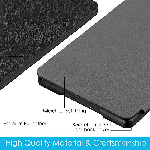Fintie Slimshell Case for All-New Kindle Paperwhite (10th Generation, 2018 Release) - Premium Lightweight PU Leather Cover with Auto Sleep/Wake for Amazon Kindle Paperwhite E-Reader, Black