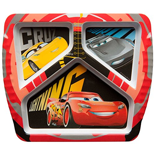 Zak Designs CRSG-0010 Cars 3 3 Section Plate, Divided