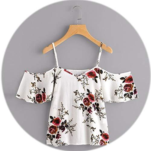 Clayton 4 Panel - Clayton M Bracewell Summer Women V-Neck Chiffon Blouses Boho Floral Printed Shirts Ladies Casual Short Sleeve Off Shoulder,White,XL
