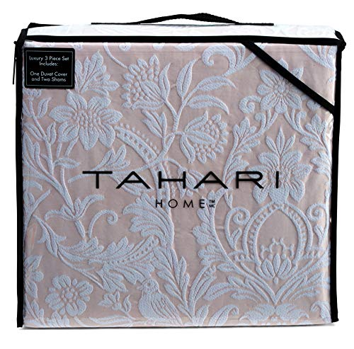 Medallion Blush (Tahari Home 100% Cotton Quilted Floral Damask 3pc Full Queen Duvet Cover Set Textured Stitching Embroidered Medallions (Blush, King))