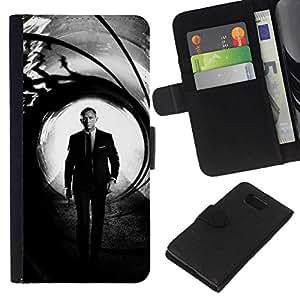 // PHONE CASE GIFT // Moda Estuche Funda de Cuero Billetera Tarjeta de crédito dinero bolsa Cubierta de proteccion Caso Samsung ALPHA G850 / Daniel Craig Bond /