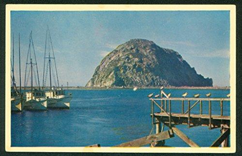 - Morro Rock Bay Sailboats and Pier California Coast Postcard