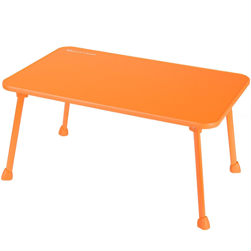 Laptop Bed Tray NNEWVANTE Laptop Desk Lap Desk Foldable Portable Standing Outdoor Camping Table, Breakfast Reading Tray Holder for Couch Floor Students Kids Young Color(Orange)