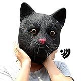 CreepyParty Deluxe Novelty Halloween Costume Party Latex Animal Sounding Cat Head Mask (Sounding)