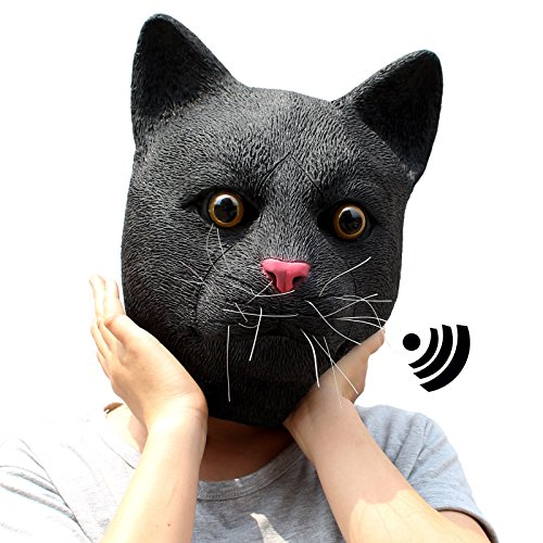 CreepyParty Deluxe Novelty Halloween Costume Party Latex Animal Sounding Cat Head Mask (Sounding) -