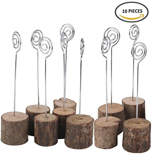 Wedding Table Card Holder, ECHI Real Wooden Base Photo Holder - Suit for Photo ,Picture,Memo,Card,Business Card Clip (10 pcs) (Christmas Names For Themed Parties)