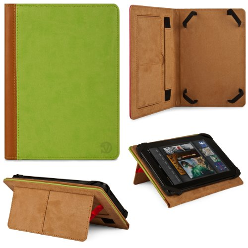 Green & Tan Mary Leather Folio Case for Digital Reins DR7-X2 7-inch Tablet