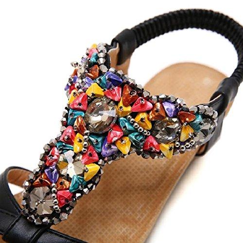 da con YMFIE estiva Sandali donna A con stagione zeppa la per perline colorate con zeppe qwB7awZ