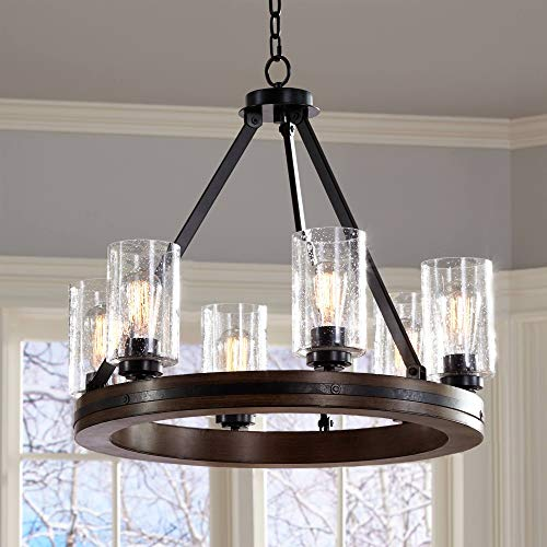 """Gorham Wagon Wheel 25"""" Wide 6-Light Chandelier - Franklin for sale  Delivered anywhere in USA"""