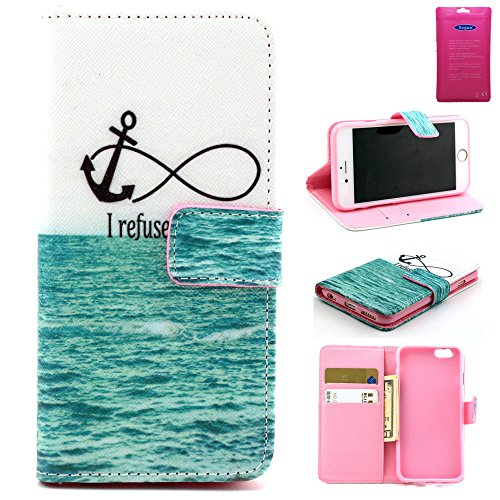 iPhone 6 4.7Inch Phone case, Vogue shop Apple iPhone 6 Wallet Case Cover, New Fashion [Never stop Dreaming] Pattern [Executive Wallet Kickstand][Stand Feature] **NEW** [Wallet S] [Black] Premium Synthetic Leather Flip Case Stand Cover with Card Slots [ID/Card Slot] and Note Holder fit for iPhone 6 with Stand All-around TPU Inner Case Skin Cover and Snap Button Closure Stylish Pattern Design for iPhone 6 (Archery-I Refuse)