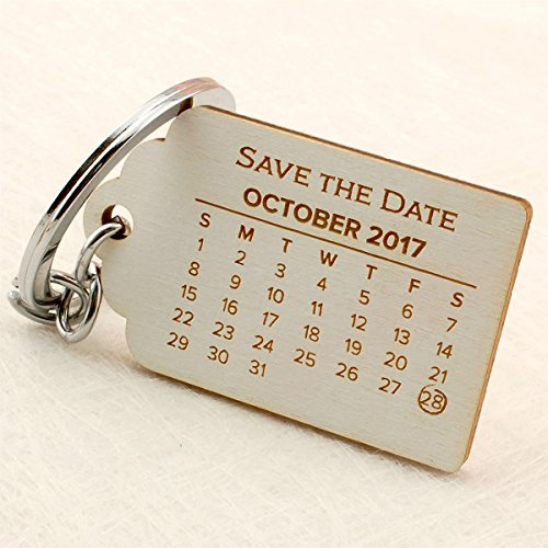 Date White Ring - Summer-Ray 50 Personalized Save The Date Keychain for Wedding with White Finished Engraved Wooden Tag