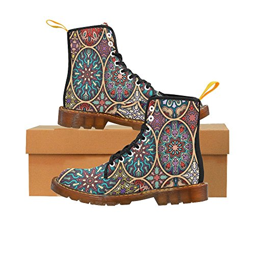 InterestPrint floral and mandala Print Lace Up Boots For Women