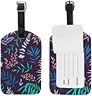 Tropical Leaves Luggage Tags,Bag Tags Travel ID Labels for Baggage Suitcases