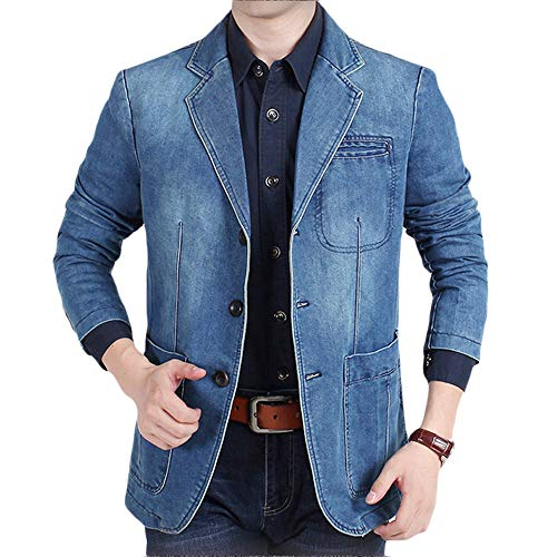 INVACHI Men's Causal Denim Blazer Jacket Slim Fit Distressed Jeans Suit Coat Light Blue Medium