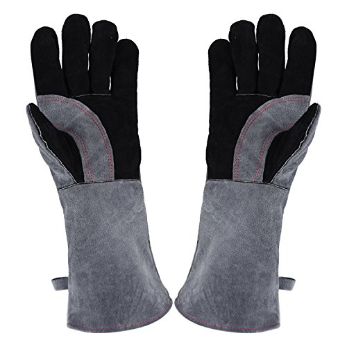 Welding Gloves Lined Leather Extreme Heat Resistant Double Insulation For Mig, Tig Welders, BBQ, Gardening, Camping, Stove, Fireplace and More - 16 in, Grey
