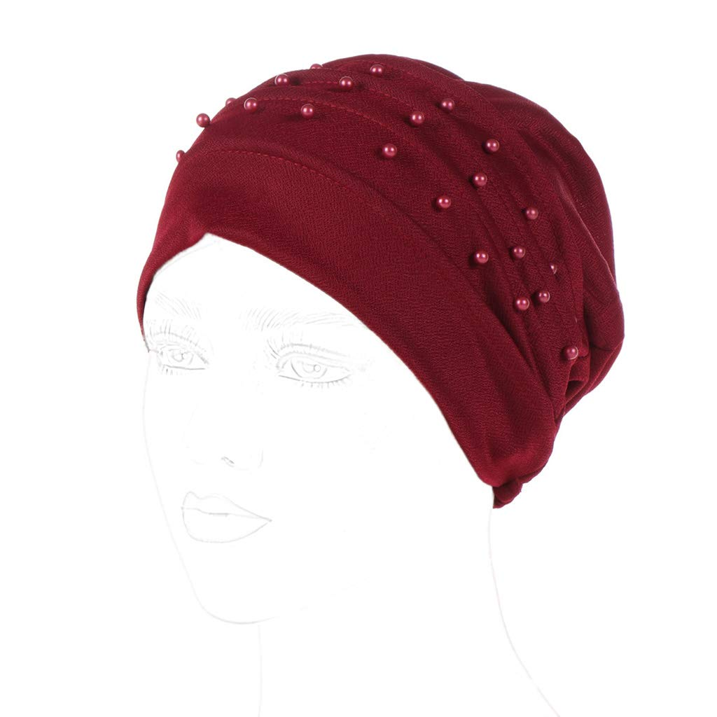 Lamdoo Womens Beaded Solid Color Headscarf Luxury Turban Hijab Ruffle Muslim Chemo Cap——Khaki