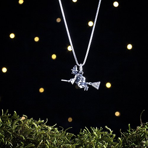 Sterling Silver Flying Witch on a Broom - 3D Double Sided - (Charm, Necklace, or Earrings) ()