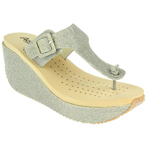 Mujer Señoras Toe Post Ajustable Talle grande Cada día Casual Comfort Ponerse Tacón de cuña Sandalias Zapatos Tamaño Estaño
