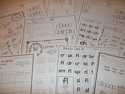 254 Bulk Printed Blends and Digraphs Worksheets. by Teach at Daycare