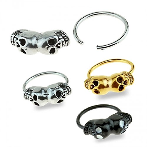 316L Surgical Steel Double Skull Freedom Fashion Captive Bead Ring (Sold by Piece) (16GA, 1/2