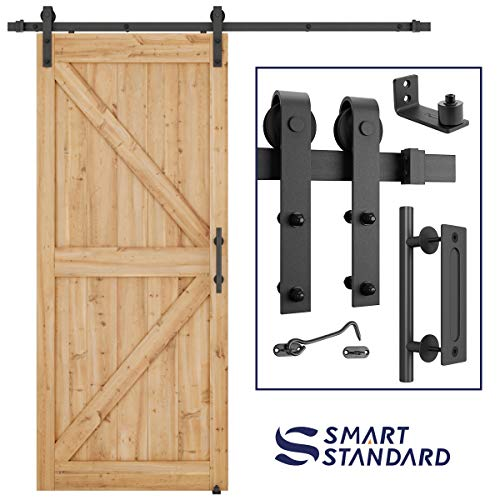 "6.6 FT Heavy Duty Sturdy Sliding Barn Door Hardware Kit, 6.6ft Single Rail, Black, (Whole Set Includes 1x Pull Handle Set & 1x Floor Guide & 1x Latch Lock) Fit 36""-40"" Wide Door Panel (J Shape Hanger)"
