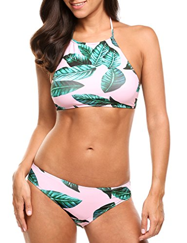 Womens Halter Leaves Swimsuit Padding