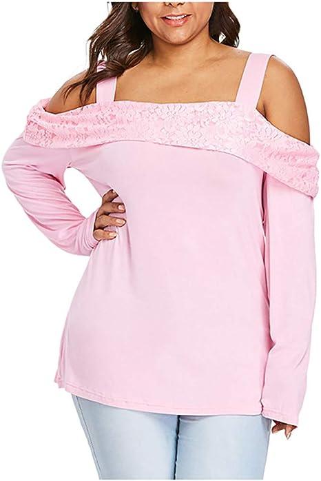 Camisa de Mujer Elegante, la Gran dimensión de la señora Cosida un Plomo Off-The-Hombro Top de Manga Larga Casual Blusa Camisa Top, Mujer, Rosa, L3: Amazon.es: Deportes y aire libre