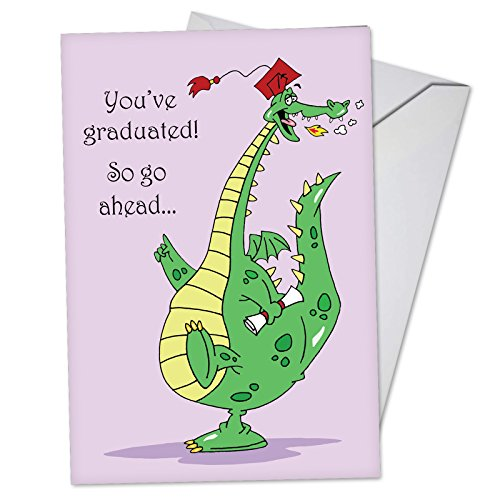 Dragon Graduate - Cute Happy Graduation Day Card for Kids (4.63 x 6.75 Inch) - Adorable Dragon Graduate Cartoon Note Card with Envelope - Congrats Notecard for Preschool, Middle, High School C3557GDG -