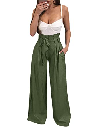 92879036e Ybenlow Womens High Waisted Palazzo Pants Wide Leg Stretch Trouser Pant  Belted with Pockets at Amazon Women's Clothing store: