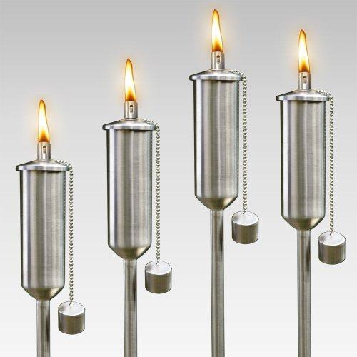 4 x Edelstahl Öllampe 120 cm - Gartenfackel Fackel Ölampe 4 x STÜCK