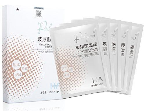 Sheets Mask Essence 5 (Pulamsi Hyaluronic Acid Essence Facial Mask Long Lasting Hydrating Moisturizing Sheet Mask Anti-Aging Smoothing Fine Lines Facial sheet Mask 5 Pcs)