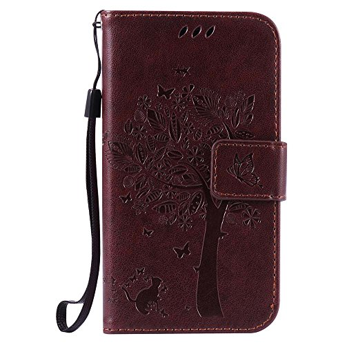 Samsung Galaxy J1 Case, C-Super Mall Embossed Tree Cat Butterfly Pattern PU Leather Wallet Stand Flip Case for Samsung Galaxy J1 SM-J100FN (4.3