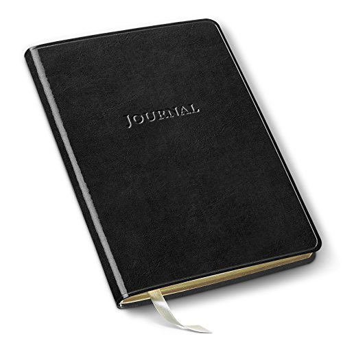 Gallery Leather Desk Journal Ruled with Interior Storage Pocket Acadia Black - Interiors Gallery