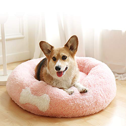 (Affetto Original Cat and Dog Bed | Luxury Faux Fur Donut Cuddler Beds - Self-Warming Indoor Round Pillow with Cover for Pet, Improved Sleep, Machine Washable [Pink/XL])
