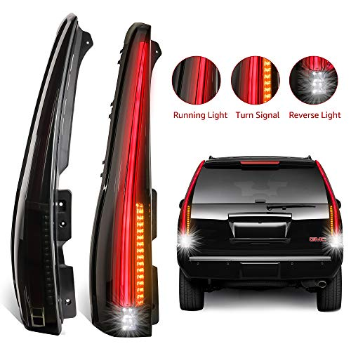 Chevy Denali Tahoe Led - MOSTPLUS LED Tail Lights Cadillac Style Rear for 2007-2014 Chevy Tahoe Suburban GMC Yukon Denali Smoked Tinted Style Set of 2