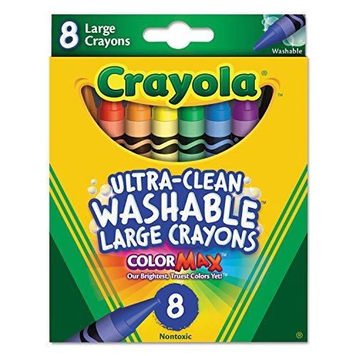 Crayola Ultra-Clean Washable Crayons, Large, 8 Colors/Box