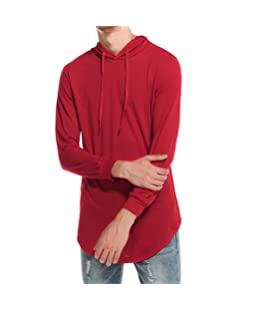 DEATU Men's Simple Casual Ripped Solid Hooded Long Sleeve T-Shirt Top Blouse (M, Red)
