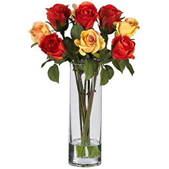 Amazon nearly natural 4740 roses with glass vase silk flower nearly natural 4740 roses with glass vase silk flower arrangement multi mightylinksfo
