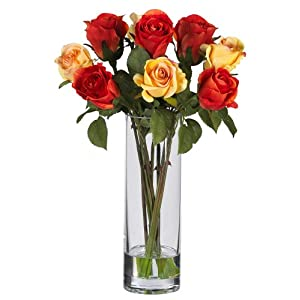 Nearly Natural 4740 Roses with Glass Vase Silk Flower Arrangement, Multi 84