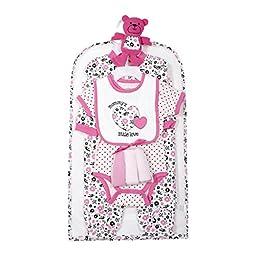 Cutie Pie Baby Newborn Girl Hearts 9Pc Layette Set in Tulle Bag on Hanger 3-6M