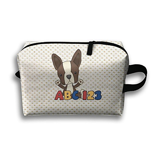 Cute Cartoon Boston Terrier Storage Cosmetics Case Travel Makeup Bags For - Boston Malls In