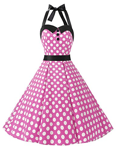 Dressystar Vintage Polka Dot Retro Cocktail Prom Dresses 50's 60's Rockabilly Bandage Pink White dot m]()
