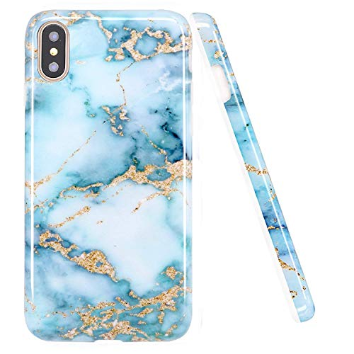 LUOLNH Compatible with iPhone Xs Max Case,Marble Design Slim Shockproof Flexible Soft Silicone Rubber TPU Bumper Cover Skin Case for iPhone Xs Max 6.5 inch(2018) -Aquamarine and Gold